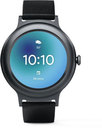 Press and hold the power button on your Wear OS by Google smartwatch or say 'Hey Google' to check the weather, start a run, set reminders, voice search and much more.